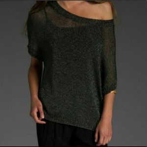 Vince metallic green mesh sweater boxy